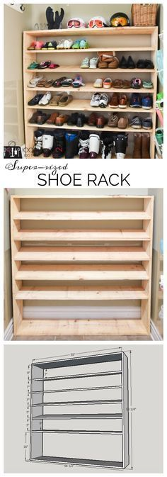 If you're looking for shoe storage for an active family, then this easy DIY is for you. Free building plans to make your own super-sized shoe rack with room for everything from ski boots to flip flops. #diyshoerackeasy