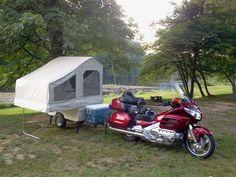 Kompact Kamp Mini Mate Motorcycle Camper Trailer Behind A Honda Goldwing
