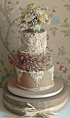 fancy wedding cakes Lace, Ruffles and Vintage Rose Wedding cake Wedding Cake Prices, Floral Wedding Cakes, Wedding Cake Rustic, Wedding Cakes With Cupcakes, Elegant Wedding Cakes, Elegant Cakes, Wedding Cake Designs, Wedding Cake Toppers, Rose Wedding