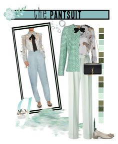 """The Pantsuit"" by dadanana ❤ liked on Polyvore featuring Alviero Martini 1° Classe, Marc Jacobs, John Galliano, Giambattista Valli, Chanel, Zac Posen, Roger Vivier and Yves Saint Laurent"