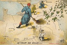 Boby (R.) | Le Coup de Balai ...[Sweeping Up...] | 1914 A scarce French postcard of a giant French soldier wearing a red cap of Liberty and supported by a British, a Belgian and an Indian soldier, sweeping the Germans out of France after the First Battle of the Marne in September 1914.