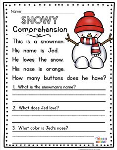 SNOWY COMPREHENSION - January winter themed math and reading centers - literacy stations for kindergarten and first grade - phonics and CVC words - word families - addition and subtraction - sight wor First Grade Reading Comprehension, Reading Fluency, Reading Passages, Reading Centers, Comprehension Strategies, Reading Response, Reading Strategies, Literacy Stations, Kindergarten Writing