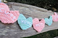 Flashback: Crochet Conversation Heart Garland