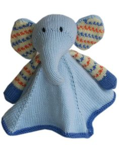 Knitting Pattern for Elephant Lovey Baby Blanket Buddy - Baby Pears Blanket Buddy is approximately 12 inches wide spread out and 10 inches in length