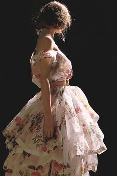Fiona Tiered Rose-Print (Silk Organza) Dress by Vivienne Westwood