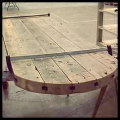 well hello there...I am in love with this table made from reclaimed floor joists