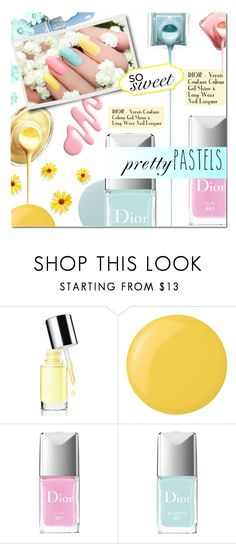 """""""PASTEL NAILS"""" by larissa-takahassi ❤ liked on Polyvore featuring beauty, Clinique, Deborah Lippmann, Christian Dior, Smith & Cult, nails, Dior and pastels"""