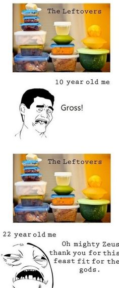 LOL never thought about it before but it's totally true how you're perception of leftovers changes with age