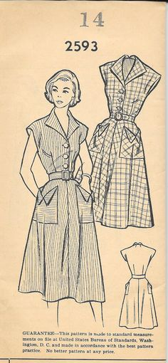Beautiful pocket details on this mail order vintage sewing pattern. Pattern Bureau 2593
