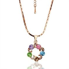Rose Gold Plated Chain Necklace Color Swarovski Elements in Circle