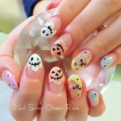 instagram Kawaii Nail Art, Cute Nail Art, Cute Nails, Pretty Nails, Cute Halloween Nails, Halloween Nail Designs, Kawaii Halloween, Lexi Nails, My Nails