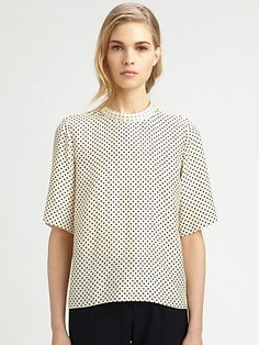 Chloé - Silk Polka Dot Blouse - worn with black tapered pants
