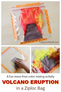 Volcano Eruption Painting in a Ziploc Bag. Mess free art for children and learn color mixing at the same time - Happy Tot Shelf Volcano Activities, Dinosaur Activities, Painting Activities, Toddler Activities, Dinosaur Projects, Toddler Games, Dinosaur Crafts, Dinosaurs Preschool, Preschool Science