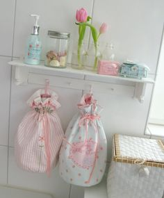 .string bags for bathroom and laundry room in nice shabby/chic fabric