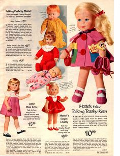 1966 Sears Christmas catalog page Mattel Talking Teachy Keen Singing Chatty doll | Collectibles, Advertising, Retail Stores | eBay!