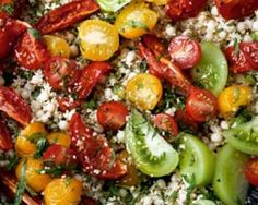 Tomato Party Salad - Instead of Sardinian fregola (available from kalustyans.com), you can use Arab mograbiah (from Middle Eastern grocers), or leave it out and double the amount of couscous