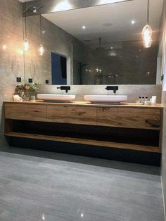 Bathroom - This gorgeous custom floating timber vanity made from solid recycled Messmate timber feautres Omvivo's Venice 700 basins The organic design of the solid surface basins work beautifully with the recyc Bathroom Renos, Laundry In Bathroom, Small Bathroom, Bathroom Ideas, Bathroom Remodeling, Remodel Bathroom, Bathroom Inspo, White Bathroom, Remodeling Ideas