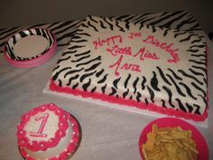 Hot pink and Zebra Rockstar Diva 1st Birthday Party.