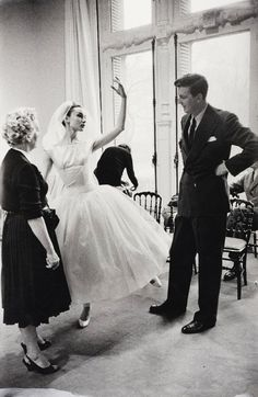 Audrey Hepburn and Hubert de Givenchy on the set of Funny Face, c. 1956