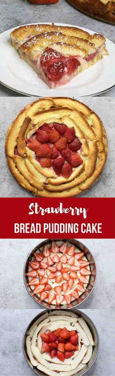 This Strawberry Bread Pudding is an easy and delicious dessert you can make using leftover crusts of bread.