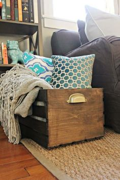 wooden crate for blankets