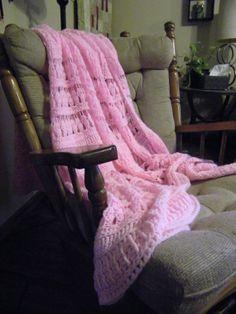 Large Pink Crocheted Blanket / Afghan by JNCEnterprises