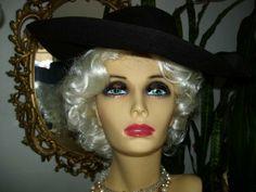 Vintage 30s or 40s Lg Brim Black Felt Hat by LavenderPathAntiques, $55.00