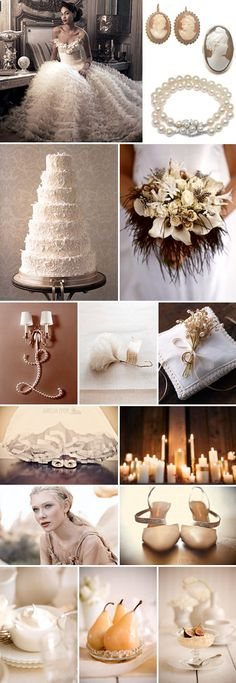 A winter wedding with a creamy white color palette, full of fabric texture, candle light, white on white patterns and delicate antique touches like vintage milk glass plates and serving dishes and pearl and cameo jewelry. Vintage Winter Weddings, Vintage Wedding Colors, Winter Wedding Colors, Winter Colors, Wedding Colours, Trendy Wedding, Our Wedding, Dream Wedding, Formal Wedding