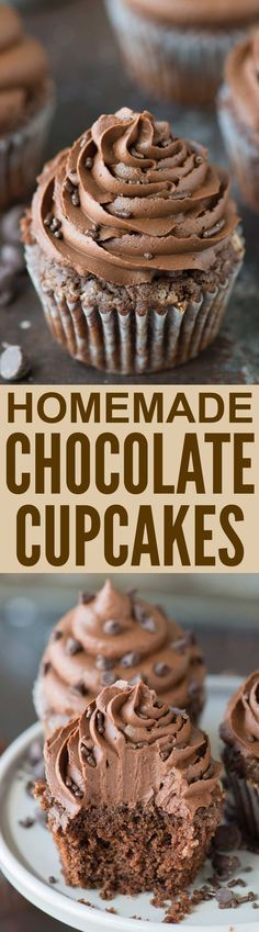 From scratch chocolate cupcakes with chocolate buttercream! These are the best chocolate cupcakes with melted chocolate in the batter!