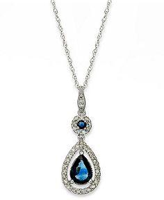14k White Gold Necklace, Sapphire (1-1/3 ct. t.w.) and Diamond (1/4 ct. t.w.) Drop Pendant