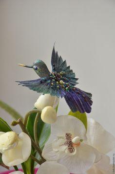 Купить Птичка декоративная - тёмно-зелёный, птичка из шелка, текстильная колибри, птичка из бисера