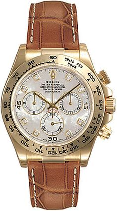 Rolex Daytona Mother of Pearl Diamond Dial Leather Bracelet 18k Yellow Gold Mens Watch 116518MDL US$22985