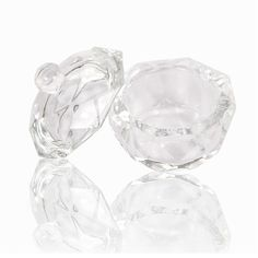 3pcs Crystal Glass Dish/Lid Bowl Cup Crystal Glass Dish Nail Tools Acrylic Nail Art Equipment Mini Bowl Cups