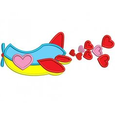 Airplane With Hearts Applique Machine Embroidery Digitized Design Pattern #valentines #embroidery #applique #hearts
