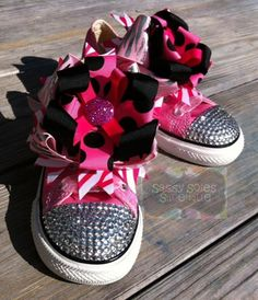 Items similar to Customized Bling Converse on Etsy Diy Fashion, Fashion Ideas, Bling Converse, Minnie Mouse Baby Shower, Embellished Shoes, Mommy And Me, Little Princess, Sassy, Baby Shoes