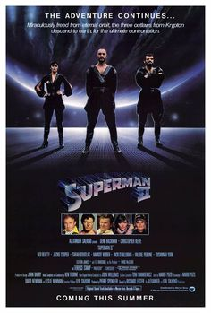 Superman II - Starring Christopher Reeve, Margot Kidder, and Gene Hackman. The best of the Superman movies in my opinion. 80s Movies, 2 Movie, Great Movies, Action Movies, Epic Movie, Awesome Movies, Superman 2, Superman Movies, Original Superman