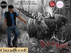 (WEAR ME) Black Horn Vest/Shirt (BLUE) secondlife, sl, avatar, men,shirt,jeans secondlife fashion lifestyle