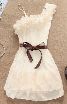 Sweet Flowers Shoulder Pleated Chiffon Dress
