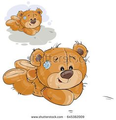 Buy Brown Teddy Bear Lies on Floor by vectorpocket on GraphicRiver. Vector illustration of a brown teddy bear lies on the floor on his stomach.