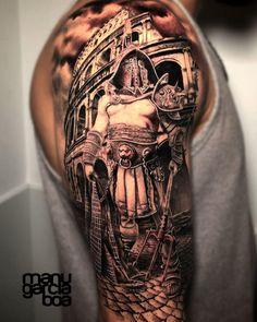 101 Amazing Gladiator Tattoos You Have Never Seen Before! Warrior Tattoos, Badass Tattoos, Viking Tattoos, Norse Tattoo, Full Sleeve Tattoos, Tattoo Sleeve Designs, Tattoo Designs Men, Posseidon Tattoo, 3d Tattoos