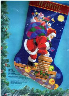 Bucilla Christmas Needlepoint SANTA ON THE ROOFTOP Stocking Kit Sealed 60732 #BucillaNeedlepoint