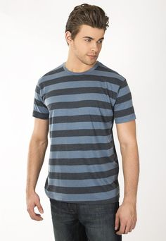"""Men's pigment dyed striped crew tee. 30's 100% Cotton combed ring spun pre-shrunk. Use Promo Code """" JSFRIENDS """" during purchase and get 20% off. www.jsapparel.net All JS Apparel garments made in USA."""