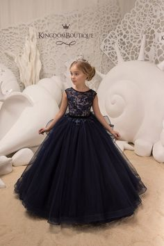 Navy and Blush Flower Girl Dress - Birthday Wedding party Bridesmaid Holiday Navy and Blush Lace Flo