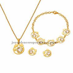 juego de collar y bracelet y aretes con cristal de corazon en acero inoxidable para mujer-SSNEG451768