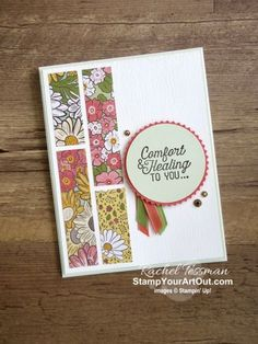 strips of Ornate Garden Designer Paper. Tarjetas Stampin Up, Stampin Up Anleitung, Fun Fold Cards, Easy Cards, Ppr, Stamping Up Cards, Scrapbooking, Scrapbook Cards, Get Well Cards