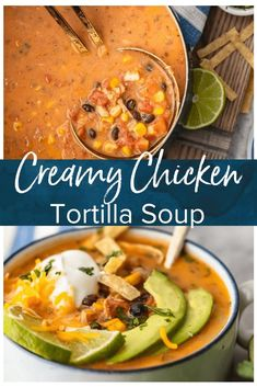 Creamy Chicken Tortilla Soup is one of my favorite fall soup recipes. It's creamy, it's delicious, and it's filled with all of my favorite Tex-Mex ingredients. This easy soup recipe is perfect for any night of the week, and it's so easy to save and reheat Healthy Chicken Tortilla Soup, Chicken Enchilada Soup, Tortilla Soup Recipes, Creamy Tortilla Soup Recipe, Tortilla Chips, Enchilada Sauce, Easy Tortilla Soup, Chicken Chili, Casserole Recipes