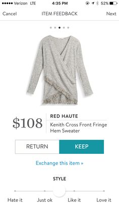 Dear Stitch Fix Stylist - love the Red Haute Kenith Cross Front Fringe Hem Sweater. The cross front and the fringes are really fun accents.