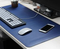 Over Sized Portable Blue PU Mouse Pad Desk Mat
