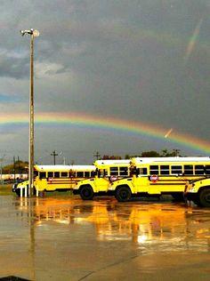 Rainbow over Blue Bird Vision School Buses Taken by Jaryd Camfferman