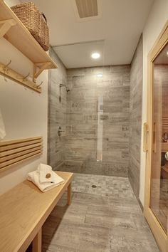 Bad Sauna Planen Anthrazit Graue Fliesen Holz Tuer | Badezimmer Ideen |  Pinterest | Saunas And Spa Bathrooms